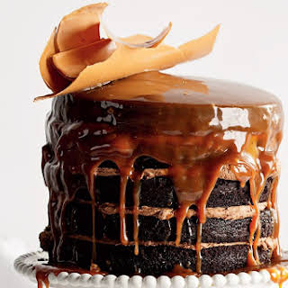 Stout Chocolate Cake With Butterscotch Sauce.