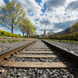 Journey by Yash Mehta - Transportation Railway Tracks ( clouds, train tracks, leading lines, sky, old montreal, travel )