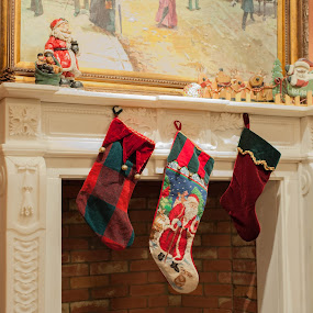 The Mantle by Sharmila Narwani - Artistic Objects Still Life ( faux fireplace, christmas stocking, white, christmas, mantle )