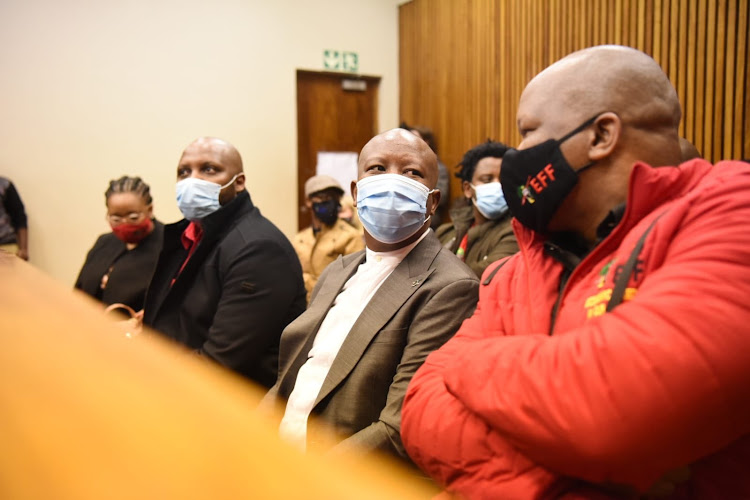 Julius Malema appeared in the Randburg magistrate's court on Tuesday facing a charge of common assault, along with Mbuyiseni Ndlozi.