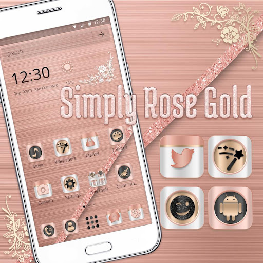(FREE) Rose Gold Luxury Launcher Theme 1.1.1 screenshots 3