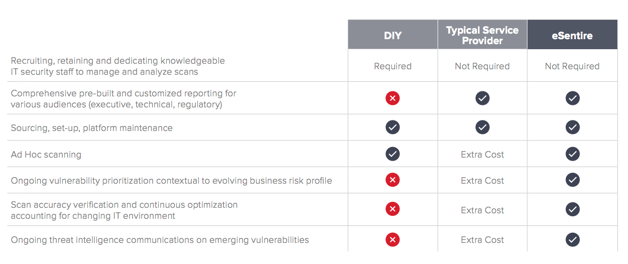 DIY vs. Typical Provider vs. Managed Vulnerability Service Comparison