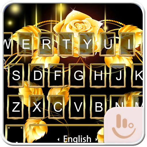 Gold Love Rose Keyboard Theme 生活 App LOGO-硬是要APP