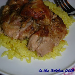 Slow Cooker Chicken Thighs With Saffron Rice.