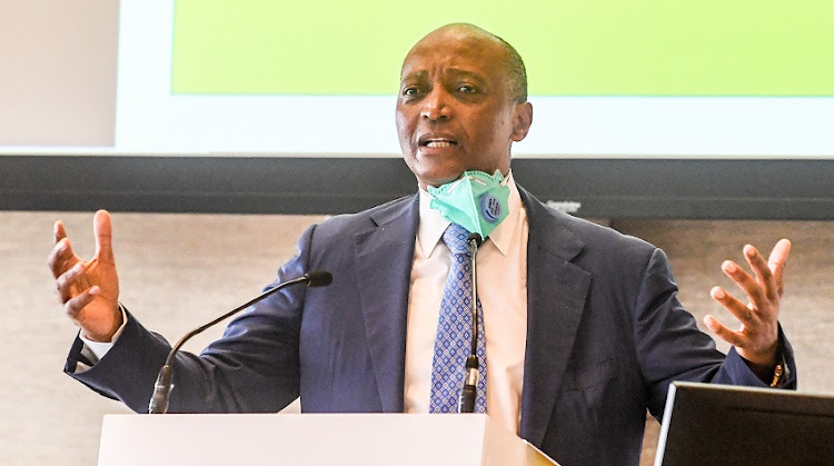 Patrice Motsepe speaks during his manifesto launch for his Caf presidency bid at Sandton Convention Centre on February 25 2021 in Johannesburg.