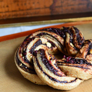 Cocoa-Date Hazelnut and Cranberry Wreath.