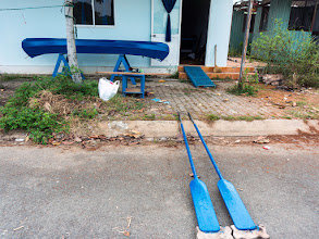 Photo: the canoe received a new layer of paint... the oars are painted also...