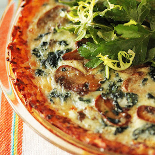 Mushroom and Spinach Quiche with Shredded Potato Crust