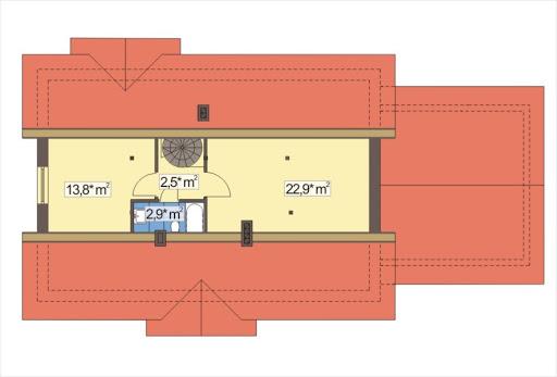 Alex wersja E z podwójnym garażem strop drewniany - Rzut poddasza