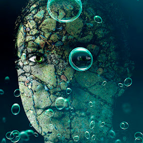 Bubbles Two - Ellie by Katherine Rynor - Digital Art People ( face, texture, stones, bubbles, turquoise, eyes,  )