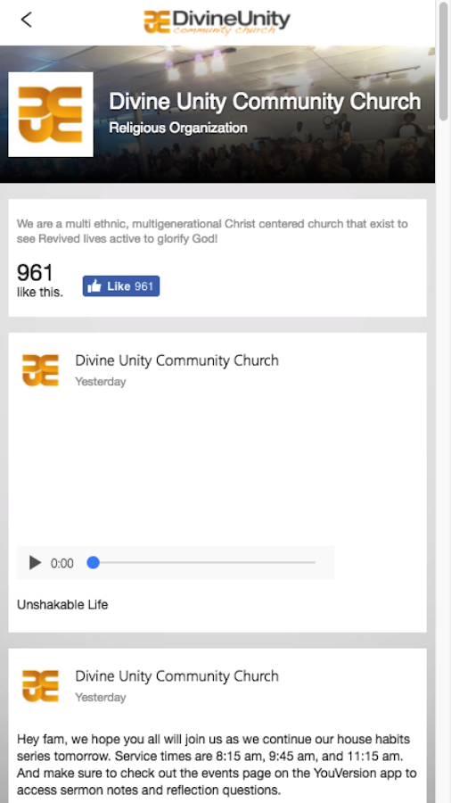 Divine Unity Community Church- screenshot