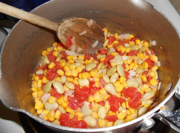 Add limas, corn and tomatoes; mix well. Season pepper shells with salt and pepper;...
