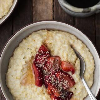 Creamy Millet Porridge with Roasted Strawberries.
