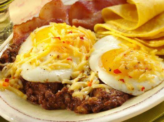 Pepper Jack Huevos And Refried Beans Recipe