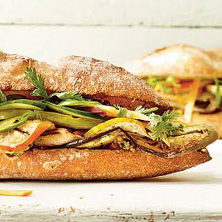Grilled Eggplant Banh Mi Sandwich.