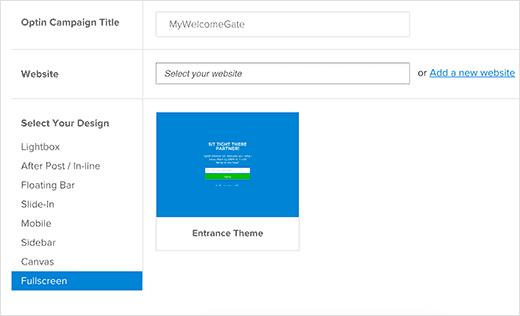 Tạo optin cổng chào toàn màn hình trong OptinMonster