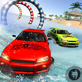 Water Surfing Car Racing Stunt