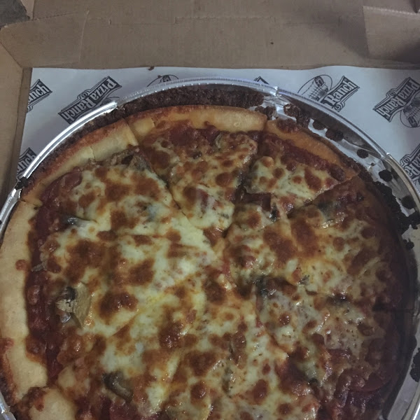 With pepperoni and mushrooms