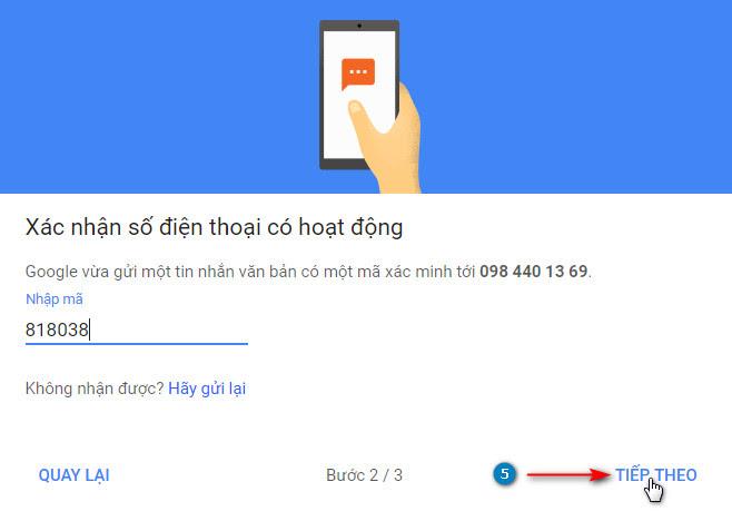Nhập mã nhận được từ Google thông qua tin nhắn