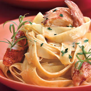 Lobster Pasta with Herbed Cream Sauce.
