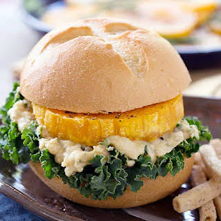 Roasted Butternut Squash Burgers with Sabra Spread.
