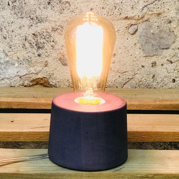 lampe béton violet design fait-main création made in france