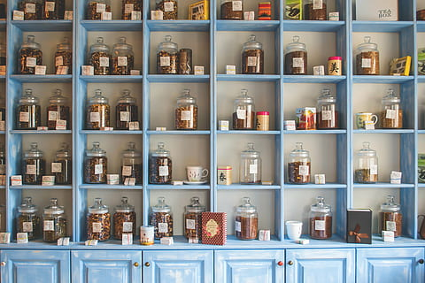 Sky Blue Modular Kitchen Cabinets