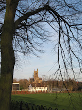 Photo: Worcester Cathedral in distance, with cricket club in the foreground