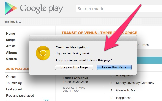 Google Play Music Tab Close Alarm