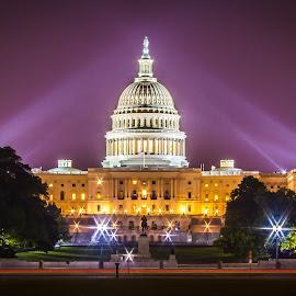 Capital Building by Alvin Simpson - Buildings & Architecture Public & Historical ( dc, washington, light trail, building, color, trees, night, capital,  )