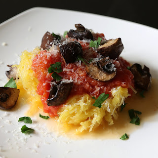 Spaghetti Squash With Tomato Sauce and Roasted Mushrooms
