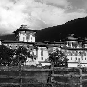 dzong by Riju Banerjee - Buildings & Architecture Public & Historical ( mono-tone, b&w, black and white, b and w, landscape, monotone )