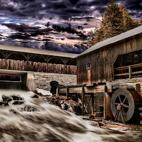 Expired Mill by Robert Blair - Buildings & Architecture Decaying & Abandoned ( water, mill, hdr, buildings, bridge )
