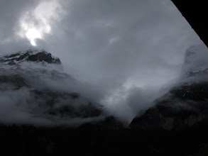 Photo: Chased by the scudding dark clouds of an approaching storm, we had to scramble along a long, high, completely exposed ridge (where lightning strikes could be fatal!) reaching Faulhorn Hut just as the first heavy drops of rain hit the ground. Some English hikers that came in after us were soaked to the skin despite their rain gear. That night it snowed 5 inches, and more was forecast. On the advice of the hut managers, we descended in the morning to lower ground. End part 1.