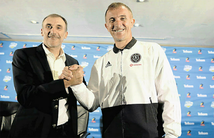 Kaizer Chiefs coach Giovanni Solinas and Orlando Pirates coach Milutin Sredojevic show their mutual respect ahead of the Soweto derby on Saturday.