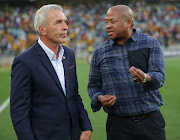 Kaizer Chiefs coach Ernst Middendorp in a discussion with the club's football manager Bobby Motaung after a match.