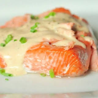 Baked Salmon With Brown Butter Sauce.