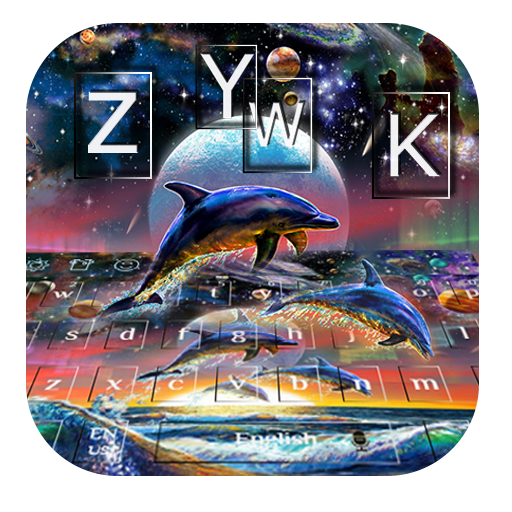 dolphin galaxy ocean planets keyboard water paint