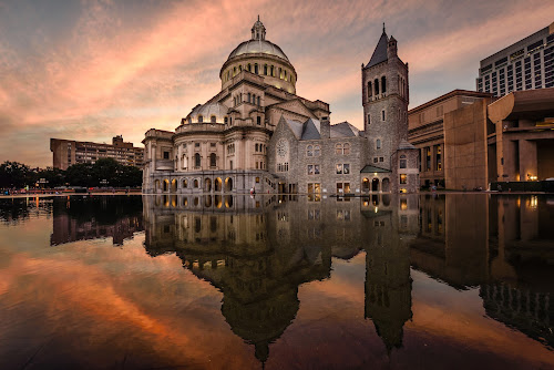 Beauty of Science by Givanni Mikel - Buildings & Architecture Places of Worship ( christian science, reflection, boston, church, sunset,  )