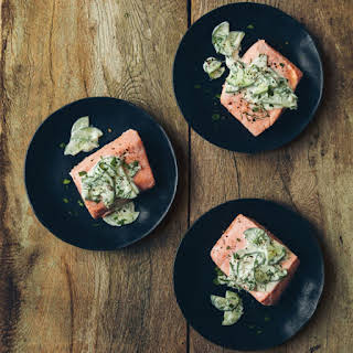 Salmon Fillets with Cucumber-Yogurt Sauce.