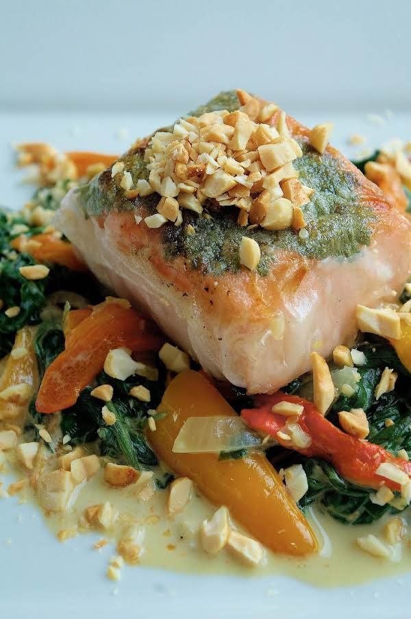 Rice Paper Wrapped Salmon On Coconut Milk Spinach Recipe