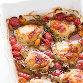 Baked Chicken with Cherry Tomatoes and Garlic.