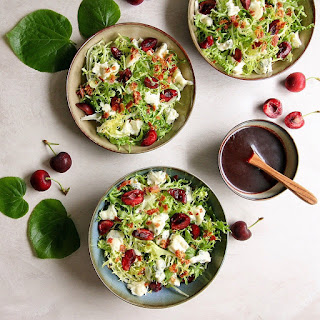 Frisée, Gorgonzola & Bacon Salad with Cherry and Port Dressing