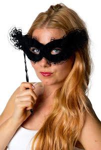 Ögonmask på pinne, svart