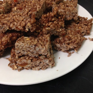 Chocolate and Peanut Butter Rice Krispie Treats with Apricot