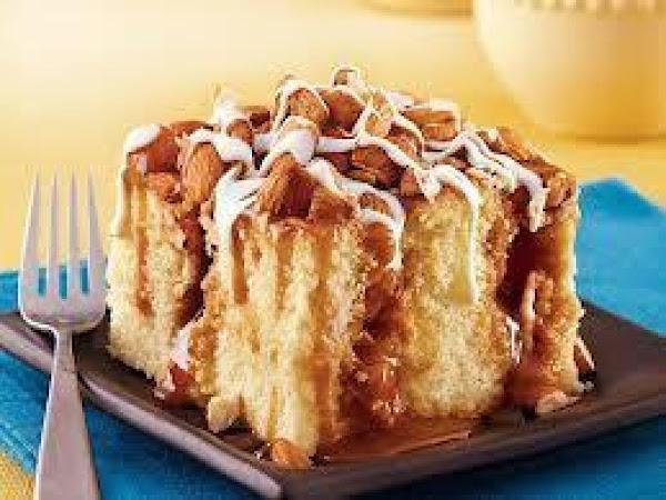 Caramel -  Almond Poke Cake Recipe