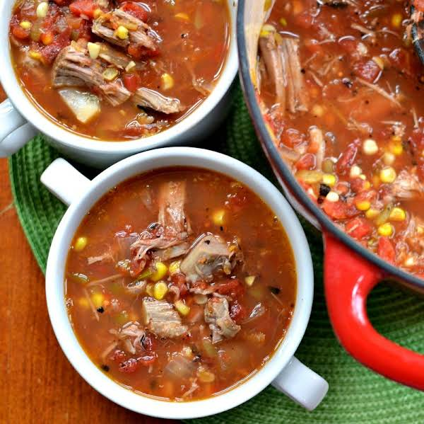 This Tasty Smoked Pork Soup Combines Fresh Sweet Corn, Smoked Pork Butt, Onions, Green Chili's And Salsa Style Tomatoes Into A Delectable Soup.