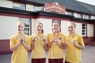 Photo: Cara Lamb, Éabha Keely, Helen Nagle and Ava Cudmore, from Our Lady of Lourdes NS, Ballinlough, Cork.  Gold medal winners in the Munster Minor Schools Swimming Gala in the U12 Freestyle and Medley Relays, 7th October, 2012.  All four swimmers also qualified for the Irish Schools Gala in their individual events and hope to repeat their relay success at all-Ireland level next March.Photo: Rob Lamb 0876838511Free Photo NO REPRO FEE