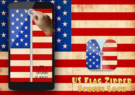 US Flag Zipper Screen Lock