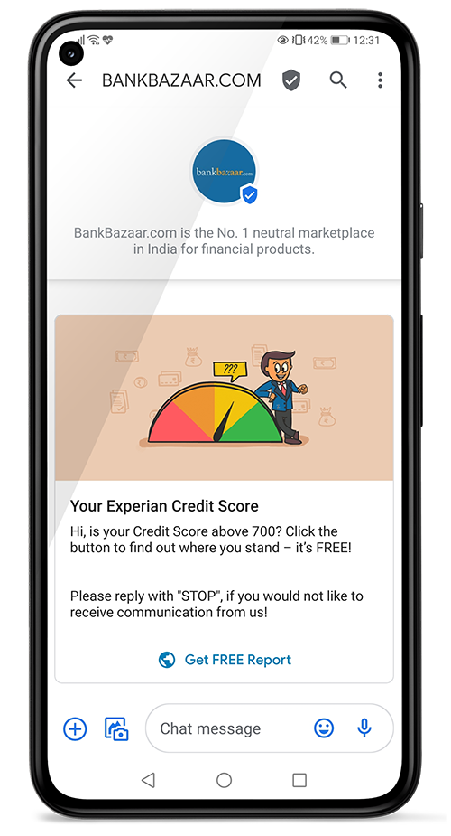 Bank Bazaar uses RCS Business Messaging campaigns to encourage customers to check their credit score.